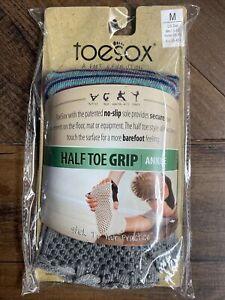 New TOESOX Women's ANKLE Half Toe Grip Toe Socks (HEATHER GRAY STRIPED) Medium