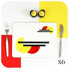 Modernist Placemats X6,  Bauhaus Place mats, Retro Table mats, Minimalist Decor