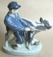 ROYAL COPENHAGEN BOY WITH CALF 772 SIGNED THOMSEN DATED 1975-1979 (Ref6318)