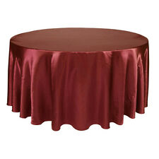 """275cm Round Satin Tablecloth Cover Solid Wedding Party Dinner 108"""" Tablecloth"""