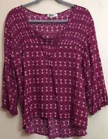 Love Fire Women's Size XXL Dark Pink 3/4 Sleeves Hi Lo Blouse Eyelet Cutout