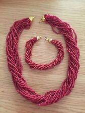 Antique Coral Seeds Strands Necklace& Bracelet Gold Clasp 750--