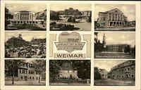 WEIMAR Thüringen 8 Ansichten alte Mehrbildkarte um 1940 ua. Krieger-Denkmal