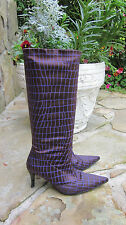Gianni Barbato Brown Purple Stretch Boots Shoes 36 MINT