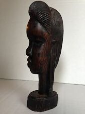 Vintage African Tribal Hard Wood Carved Female Head Bust Sculpture