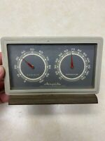 Vtg Airguide Humidity Temp Thermometer Weather Station Brass Metal Base