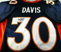 TERRELL DAVIS / NFL HALL OF FAME / AUTOGRAPHED BRONCOS BLUE CUSTOM JERSEY / COA