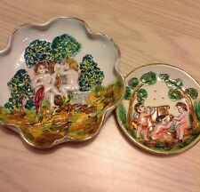 "CAPODIMONTE DECORATIVE 5.5"" PLATE W ANOTHER 4"" PLATE MADE IN ITALY NICE"