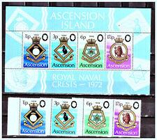 "ASCENSION:1972 Sc:AC-156-159 ""Coats of Arms - Royal Navy Crests"" MNH Set & Sheet"