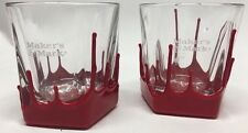 2 MAKERS MARK Red WAX Bourbon Whiskey Tumbler Bar Glasses Etched - Wax Defect