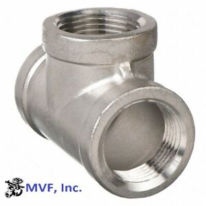 "1/2"" 150 Female NPT Pipe Tee Cast 304 Stainless Steel Fitting <SS030441304"