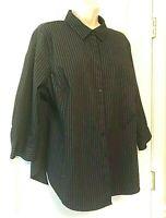 Worthington Women's Blouse Plus Size 1X 3/4 Sleeve Striped Button Down Shirt