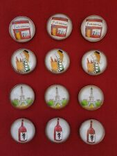 FRENCH  magnet set PARIS France Refrigerator Magnets SET (12) Twelve