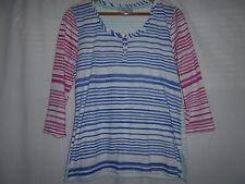 PER UNA - Pretty White with Blue, Pink and Aqua Striped Top - size 14
