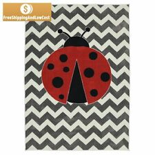 5 x 8 Gray White Area Rug Lady Bug Design Chevron Rugs For Kids Rooms Playroom