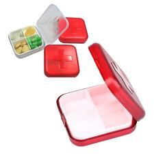 Portable 4 Grids Vitamin Medicine Drug Pill Box Case Organizer Tablet Container