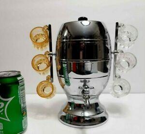 VINTAGE ART DECO Farberware Stainless Steel Barrel keg Fostoria Shot glasses