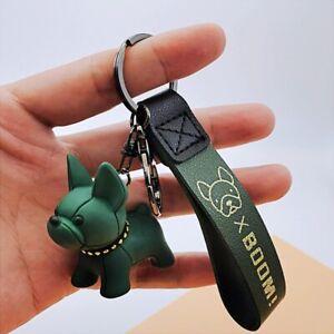 Pet French Bulldog Leather Keychain Product Fashion Car Key Ring Bag Pendant Dog