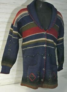 Vtg. WOOLRICH Sz XL Men Navajo Western WOOL Cardigan Sweater Jacket Coat Blanket
