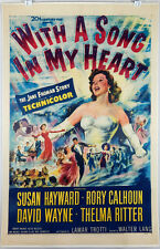 WITH A SONG IN MY HEART 1952 ORIGINAL MOVIE POSTER - SUSAN HAYWARD, RORY CALHOUN