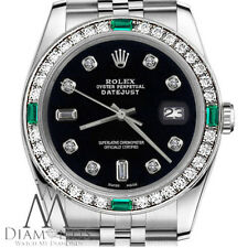 Rolex 36mm Datejust Black Color Dial with 8+2 Emerald Diamond Accent Watch