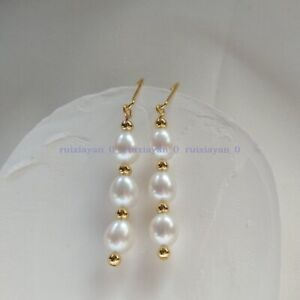 Perfect Excellent Gorgeous AAA South Sea White Pearl Dangle Earring 14k Gold
