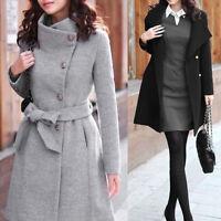 Womens Lapel Wool Coat Trench Jacket Long Sleeve Outwear Overcoat New HOT