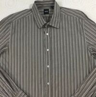 Men's Hugo Boss Lex L/S Shirt XL X-Large Brown Gray Striped Black Label