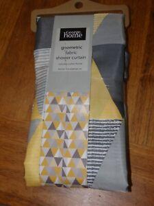Kitsch Geometric Grey Yellow Chic Shower Curtain Bathroom Stunning BNWT