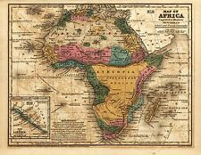 MAP ANTIQUE MITCHELL 1839 SCHOOL ATLAS AFRICA LARGE REPLICA POSTER PRINT PAM1121