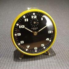 KIENZLE DUO alter, gelber, mechanischer Wecker 10 cm / alte Uhr Handaufzug