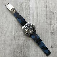 Blu Mimetico Gomma Silicone Orologio Cinturino per Rolex Oysterflex Orologi 20mm