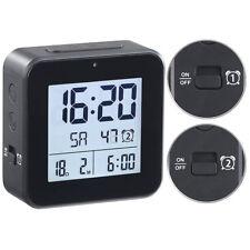 infactory Funkwecker mit 2 Weckzeiten Hygro-thermometer Lichtsensor schwarz
