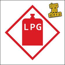 LPG WARNING STICKER, PACK OF 2 STICKERS, CARAVAN, MOTORHOME, 100x100mm