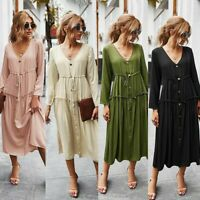 Women's Sexy Slim Maxi Dress Lady Long Sleeve V Neck Buttons Ball Gown Dresses