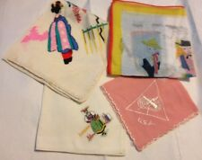 Vintage Handkerchiefs Hankies Lot Of 4 Silk Geisha Fort Knox Luzern