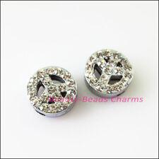 3Pcs Crystal Rhinestone Slide Peace Beads Charms Wristband DIY Bracelets 12mm
