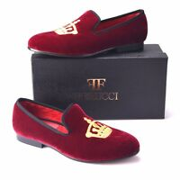 Handmade FERUCCI Men Burgundy Velvet Slippers loafers with Crown