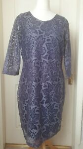 JOE BROWNS Size 18 Navy Blue Lace Overlay Dress With Sparkle- Party, Christmas