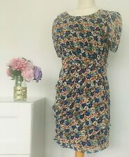 JOVONNISTA Dress Size 10 BLUE WHITE RED | Floral Tea Smart Party Holiday