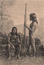 Caraya Indians. Brazil. Goiás 1885 old antique vintage print picture