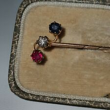 Vintage Gold Diamond Sapphire and Ruby Stick Pin