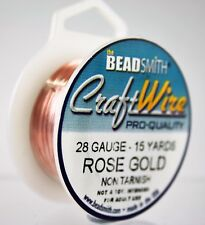 Beadsmith Craft Wire Pro Quality Rose Gold 28 Gauge 15 Yards