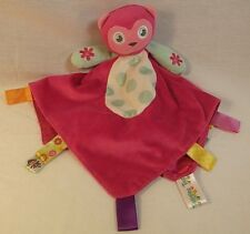TAGGIES Pink Owl Lovey Blanket Embroidered Rattle Plush Satin Tags