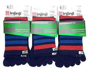 Injinji Toe Socks Outdoor Running RARE Angeles Nuwool LOT OF 3 SMALL Unisex