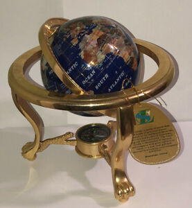 Lapis Brass Gemstone Desk World Globe Semi precious stone inlays compass W/stand