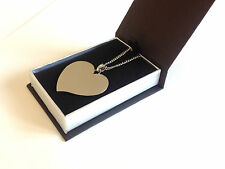 Personalised Photo/Text Engraved Flared Heart Necklace Pendant Luxury Gift Box