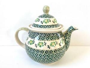 Polish Pottery Green Floral Large Tea Pot 3pt 1.5l Ceramika Boleslawiec Polski