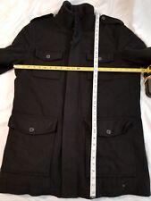Tasso Elba black wool blend military style large warm jacket coat epaulettes
