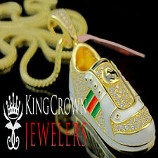 Yellow Gold Silver Lab Diamond Jorden Air 23 Sneaker Shoes Star Pendant + Chain